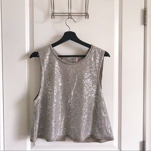 Free People EUC Metallic Crop Top